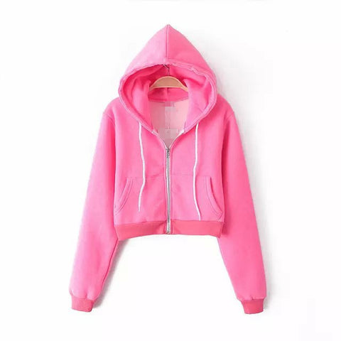 Slim Zipper Cardigan Short Solid Color Hoodie - Meet Yours Fashion - 2