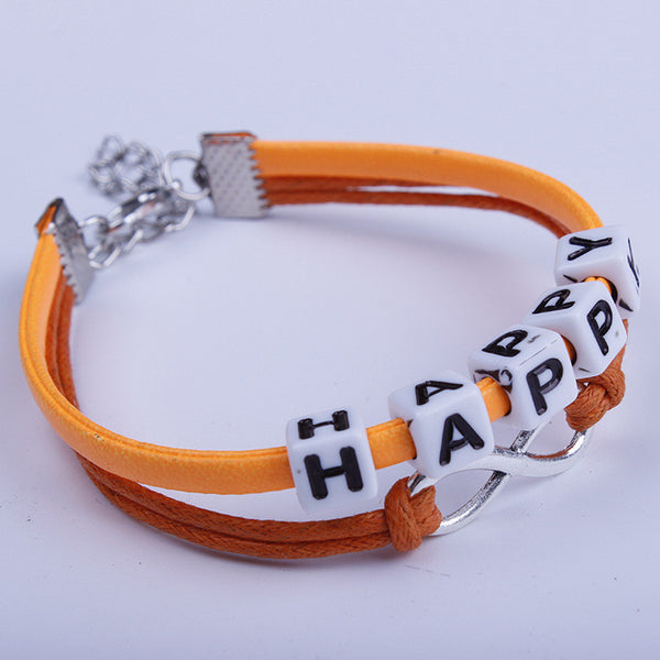 Pure Manual Weaving String Of Letters Bracelet