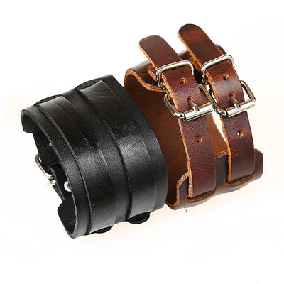 Double Belt Buckle Wide Leather Braclet