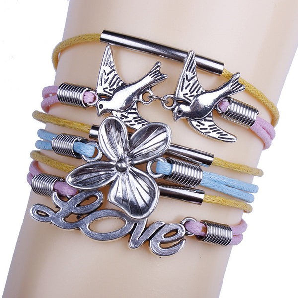 Dove Flower Colorful Woven Multilayer Bracelet