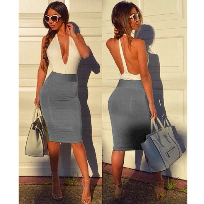 Deep V-neck Backless Sheath Bodycon Knee Length Dress