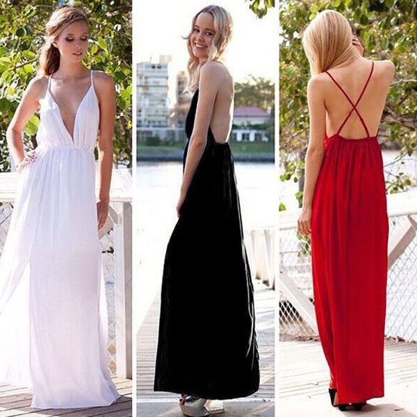 Deep V-neck Straps Split Backless Long Dress - MeetYoursFashion - 7