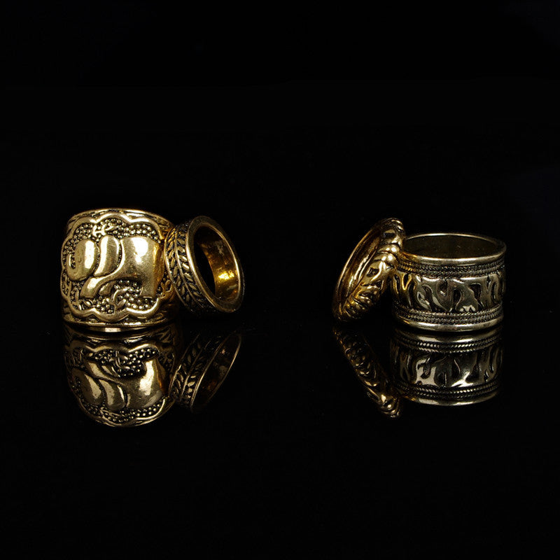 Totem Print Carve Designs 4 Suit Rings Set