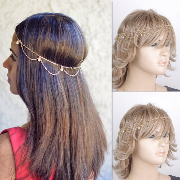 Bohemian Waves Tassel Pearl Hair Accessories