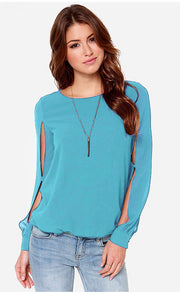 Scoop Long Sleeves Split Casual Chiffon Blouse - Meet Yours Fashion - 5