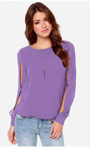 Scoop Long Sleeves Split Casual Chiffon Blouse - Meet Yours Fashion - 4