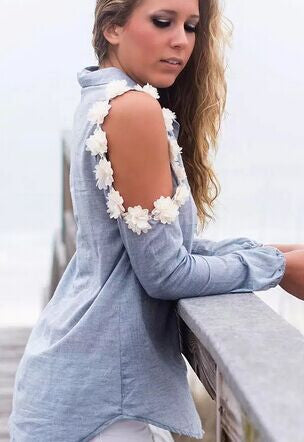 Hollow Out Flowers Shoulder Long Sleeve Blouse