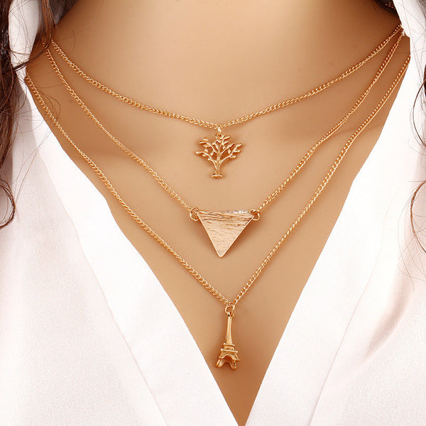 Fashion Simple Europe Multilayer Tower Trees Triangle Clavicle Necklace