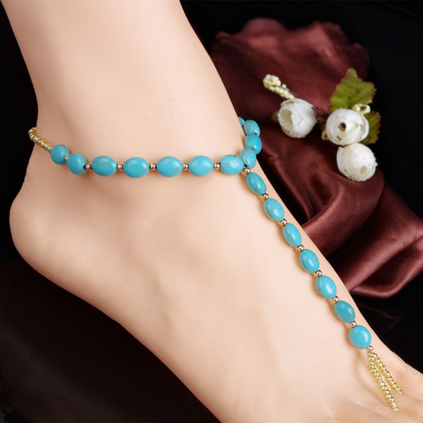 Blue Tophus Beads Single Anklet