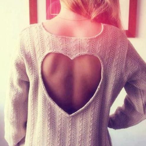 Sweet Heart Hollow Out Knitting Sweater - MeetYoursFashion - 1