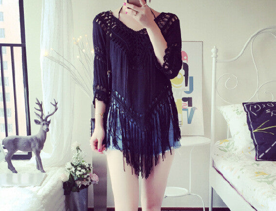 Cover Up Hole Tassel V-neck 3/4 Sleeves Casual Patchwork Blouse