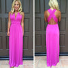 V-neck Cross Backless Sleeveless Long Dress