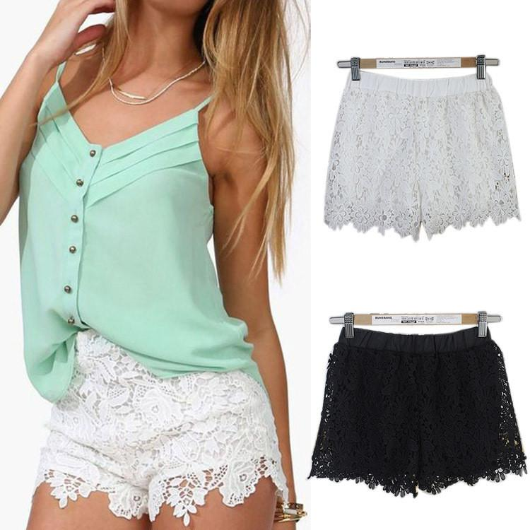 Lace Elastic High Waist Sport Hot Shorts - Meet Yours Fashion - 1
