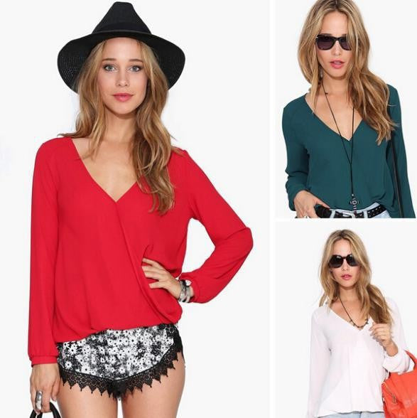 Deep V-neck Long Sleeves Chiffon Plus Size Blouse - Meet Yours Fashion - 2