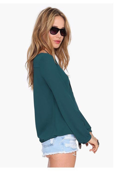 Deep V-neck Long Sleeves Chiffon Plus Size Blouse - Meet Yours Fashion - 7
