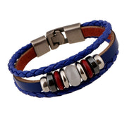 Hand-woven Multicolor Beaded Leather Bracelet