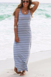 Striped Sleeveless Scoop Loose Long Beach Dress - Meet Yours Fashion - 3