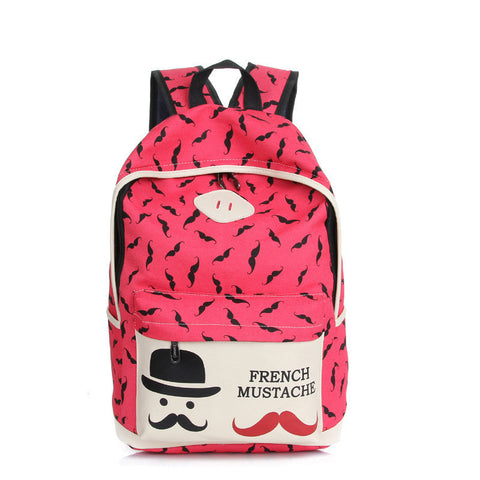 Mustache Print Fashion Backpack School Bag - Meet Yours Fashion - 2