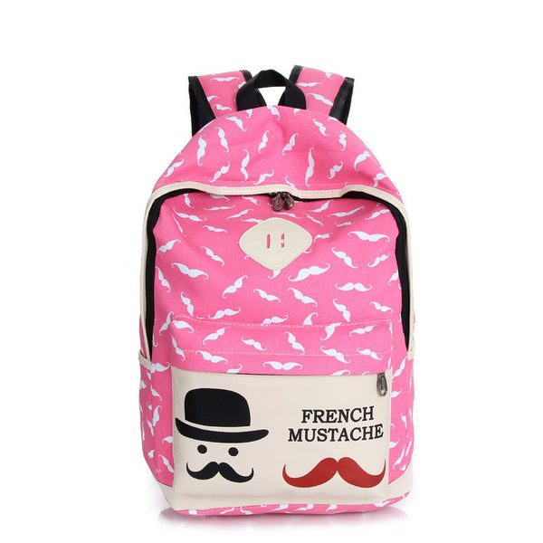 Mustache Print Fashion Backpack School Bag - Meet Yours Fashion - 6