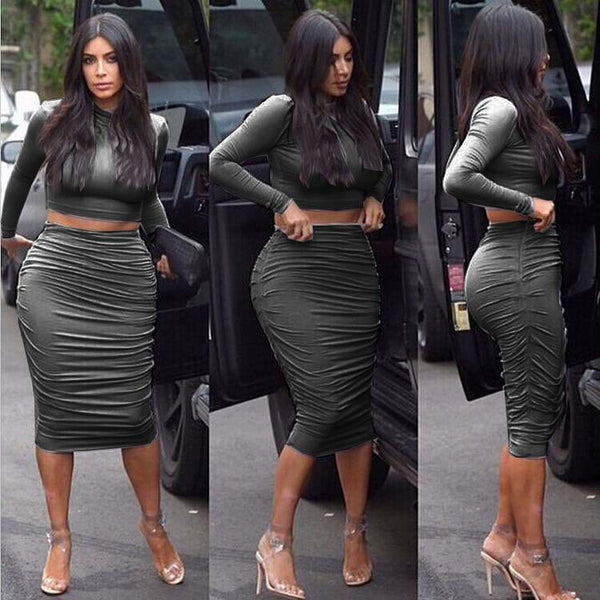 Scoop Long Sleeves Crop Top Bodycon Knee-length Winkle Skirt Dress Set