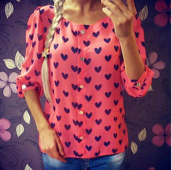 Scoop 1/2 Sleeves Flower Print Chiffon Fashion Blouse