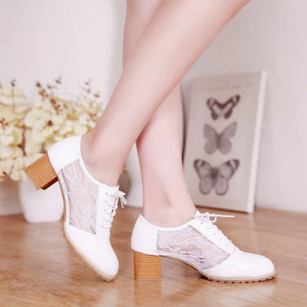 Classic Lace Up Lace Mesh High Heel Shoes