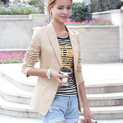 Slim Lapel Solid Pockets Short Coat - Meet Yours Fashion - 2
