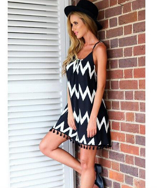 White Black Striped Backless Tassel Loose Short Dress - MeetYoursFashion - 3