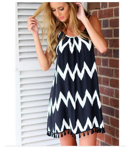 White Black Striped Backless Tassel Loose Short Dress - MeetYoursFashion - 2