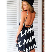 White Black Striped Backless Tassel Loose Short Dress - MeetYoursFashion - 4