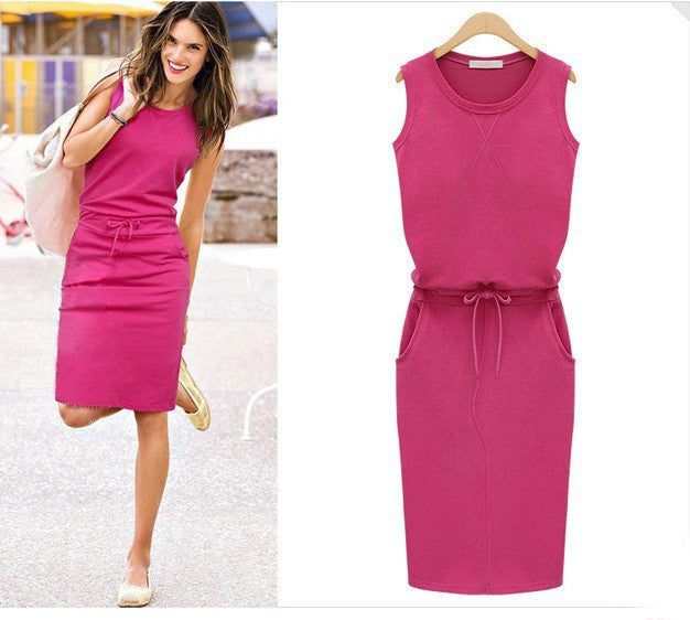 fe4aff7602 Scoop Slim Bodycon Solid Sleeveless Lace Up Knee-length Dress –  MeetYoursFashion