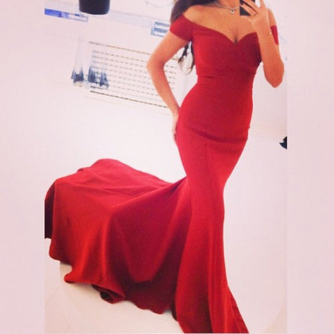 Sexy Off Shoulder Red Mermaid Long Party Floor Length Dress - MeetYoursFashion - 2