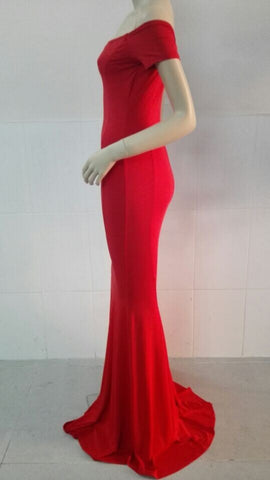 Sexy Off Shoulder Red Mermaid Long Party Floor Length Dress - MeetYoursFashion - 3