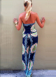 Strapless Flower Print Sleeveless Long Wide Legs Jumpsuit - Meet Yours Fashion - 6