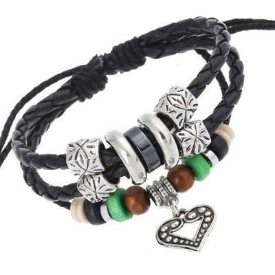 Fashion Alloy Heart Beaded Bracelet
