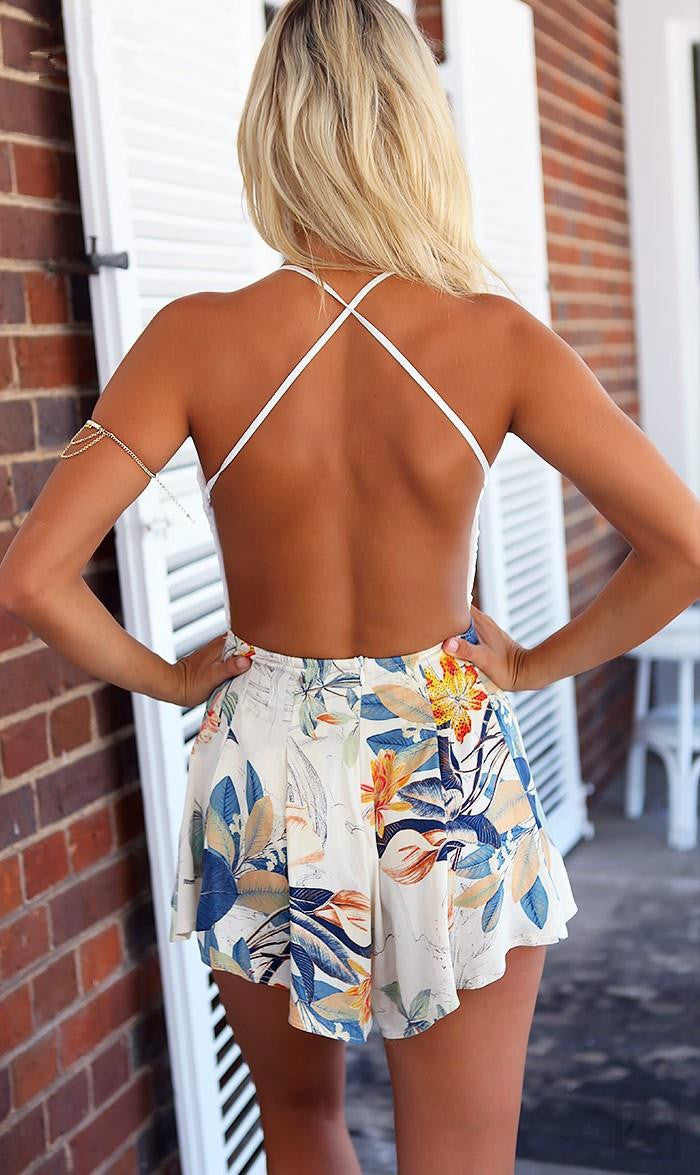 V-Neck Print Lace Stitching Backless Romper