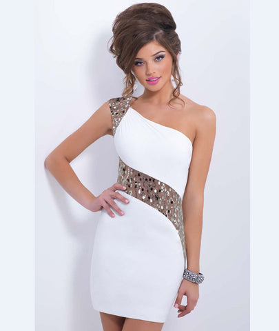 One Shoulder Sequins Mini Bodycon Party Dress - MeetYoursFashion - 2