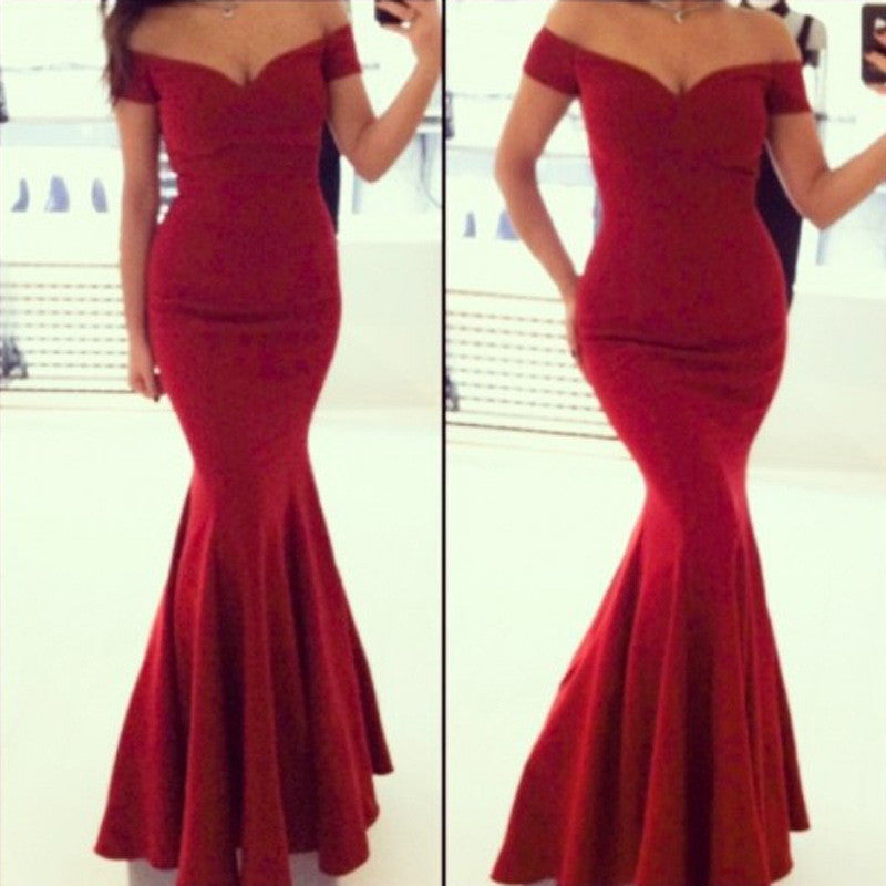 Sexy Off Shoulder Red Mermaid Long Party Floor Length Dress - MeetYoursFashion - 1