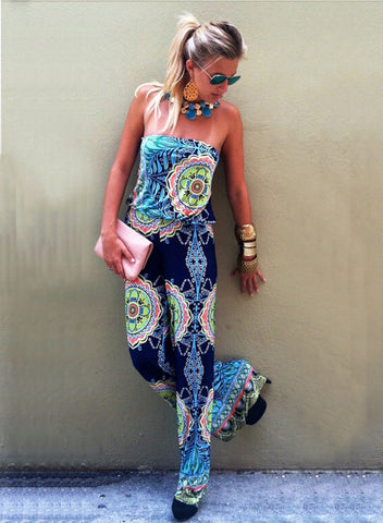 Strapless Flower Print Sleeveless Long Wide Legs Jumpsuit - Meet Yours Fashion - 5