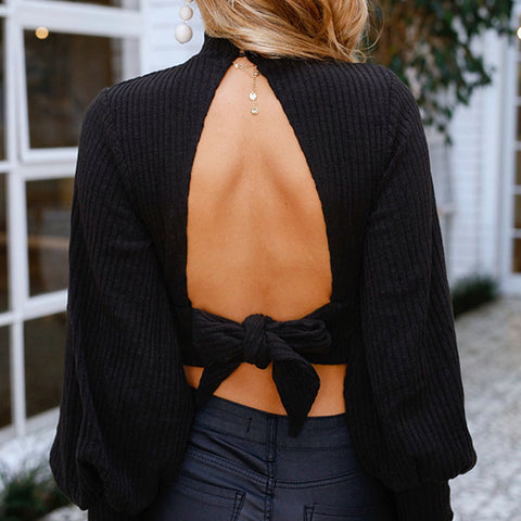 Mock Neck Cut Out Backless Cropped Sweater