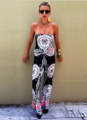 Strapless Flower Print Sleeveless Long Wide Legs Jumpsuit - Meet Yours Fashion - 4