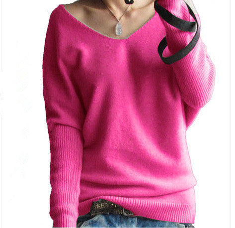 Loose V Neck Batwing Pullover Sweater