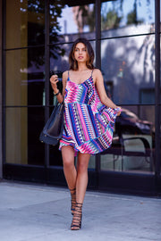 Bright Spaghetti Strap V-neck Loose Short Dress