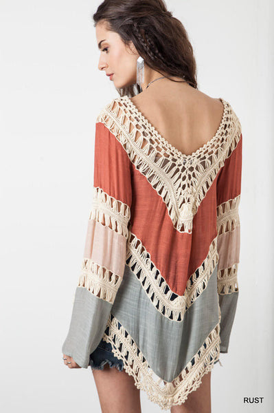 Long Sleeve Knit Splice Irregular Hem Blouse Swimwear Cover Up - MeetYoursFashion - 6