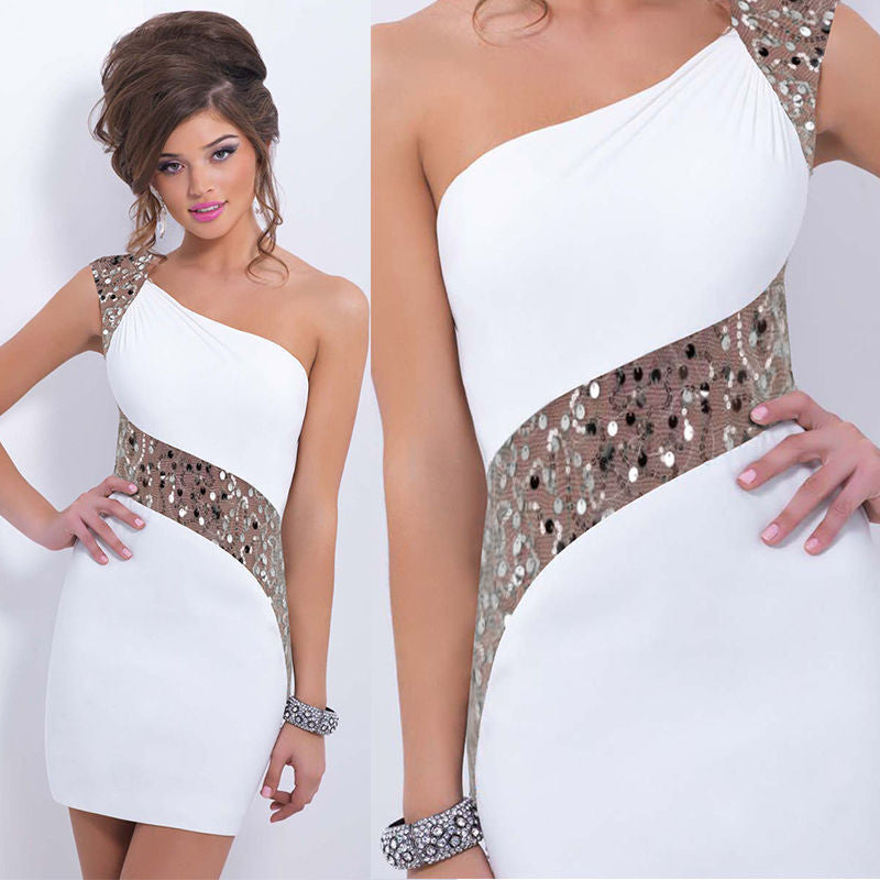 One Shoulder Sequins Mini Bodycon Party Dress - MeetYoursFashion - 4
