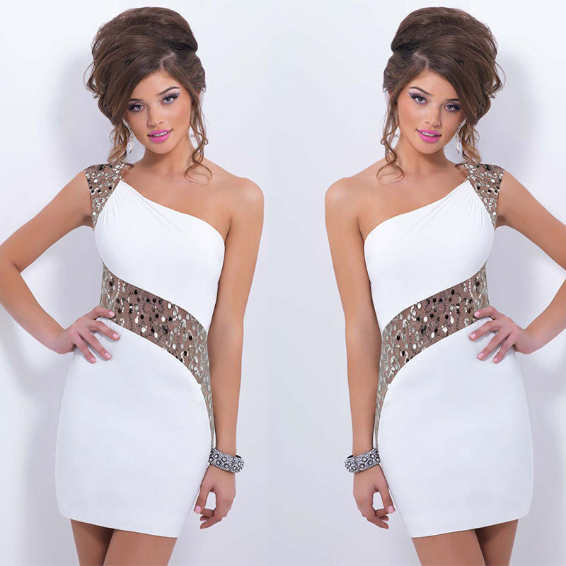 One Shoulder Sequins Mini Bodycon Party Dress - MeetYoursFashion - 5
