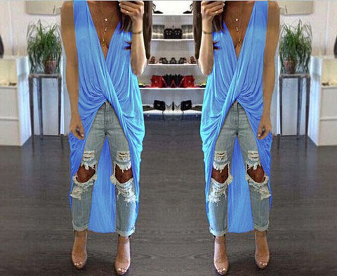 Deep V-neck Bandage Irregular Long Dress - MeetYoursFashion - 3