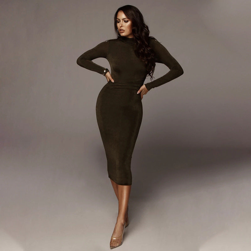 Plain O Neck Bodycon Long Sleeve Corset Dress