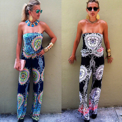 Strapless Flower Print Sleeveless Long Wide Legs Jumpsuit - Meet Yours Fashion - 2