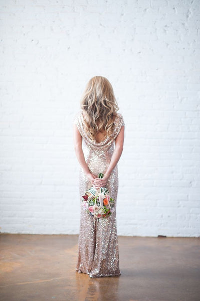 Shinning Backless Sequined Long Party Bridesmaid Dress - Meet Yours Fashion - 6